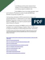 Los Programas Sociales Del Ministerio de Desarrollo e Inclusión Social