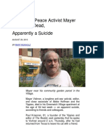 Yippie and Peace Activist Mayer Vishner is Dead