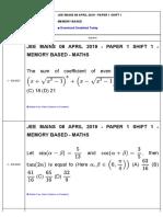 Jm 2019 Memory 08 April 2019 Shift 1 Maths