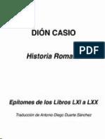 Dion Casio Historia Romana Epitomes de Los Libros Lxi Al Lxx
