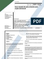 NBR 10834 - 1994 - Bloco Vazado de Solo-Cimento sem Função Estrutural
