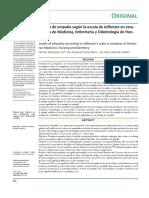 Niveles de empatía según la escala de Jefferson en estudiantes de Medicina, Enfermería y Odontología de Honduras