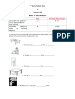 1-5 Summative Test in Science-III (3rd Quarter)
