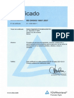 Certificado OHSAS 18001 2018