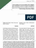 El uso religioso de la polítca y o el uso político de la religión. Juan. J. Linz