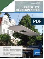 Preisliste-Deckenplatten