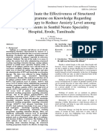 A Study to Evaluate the Effectiveness of Structured Teaching Programme on Knowledge Regarding Relaxation Therapy to Reduce Anxiety Level among Epilepsy Patients in Senthil Neuro Speciality Hospital, Erode, Tamilnadu
