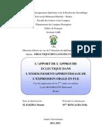 L'Apport de l'Approche Éclectique Dans l'Enseignement-l'Apprentissage de l'Expression Orale en FLE. 2012