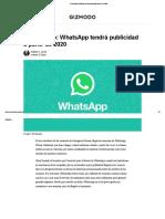 Confirmado_ WhatsApp Tendrá Publicidad a Partir de 2020