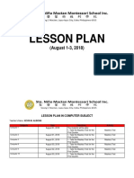 Lesson Plan- 6th Week - August 1-3, 2018