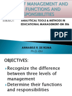 Levels of Management and Their Functions and Reponsibilities