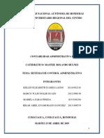 Informe Sistema de Control Administrativo Capitulo 10 Contabilidad Administrativa II