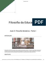 5 - Filosofia Da Educação - Filosofia Moderna - Parte I