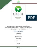 Informe Del Sistema de Gestión de Calidad Como Base La Norma Iso 9001-2015