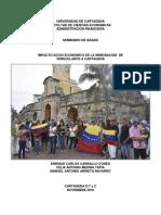 Impacto Socioeconomico de La Inmigracion de Venezolanos a Cartagena