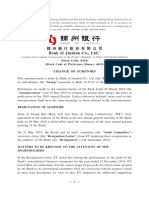 Bank of Jinzho Auditor Change