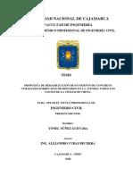 """""""Propuesta de Rehabilitación de Pavimento de Concreto Utilizando Sobrecapas de Refuerzo en La Avenida Todos Los Santos de La Ciudad de Chota"""""""
