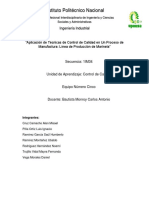 Aplicación de Técnicas de Control de Calidad en Un Proceso de Manufactura