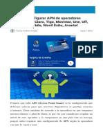 Guía Para Configurar APN de Operadores Colombianos Claro Tigo Movistar Une Uff Etb Virgin Mobile Movil Exito Avantel
