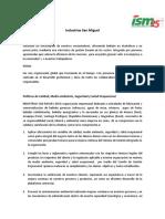 247776982-Industrias-San-Miguel-Mision-Vision-Politicas.docx