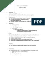 Lesson Plan in Mathematics 9