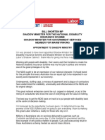 BILL SHORTEN APPOINTED SHADOW MINISTER FOR THE NATIONAL DISABILITY  INSURANCE SCHEME