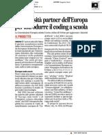 L'Università di Urbino partner dell'Europa per introdurre il coding a scuola - Il Corriere Adriatico del 1 giugno 2019