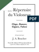 Le Répertoire Du Violoneux de J-A Boucher (Réédition 2018 Par Jean Duval)