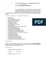 International Journal of Game Theory and Technology IJGTT