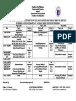 Summer Research Seminar Training Matrix 2019