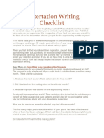 Dissertation Writing Checklist