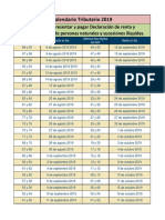 Plazos Para Declarar Renta 2019 - Calendario Tributario 2019(1)