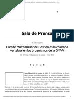 Comité Multifamiliar de Gestión Es La Columna Vertebral en Los Urbanismos de La GMVV