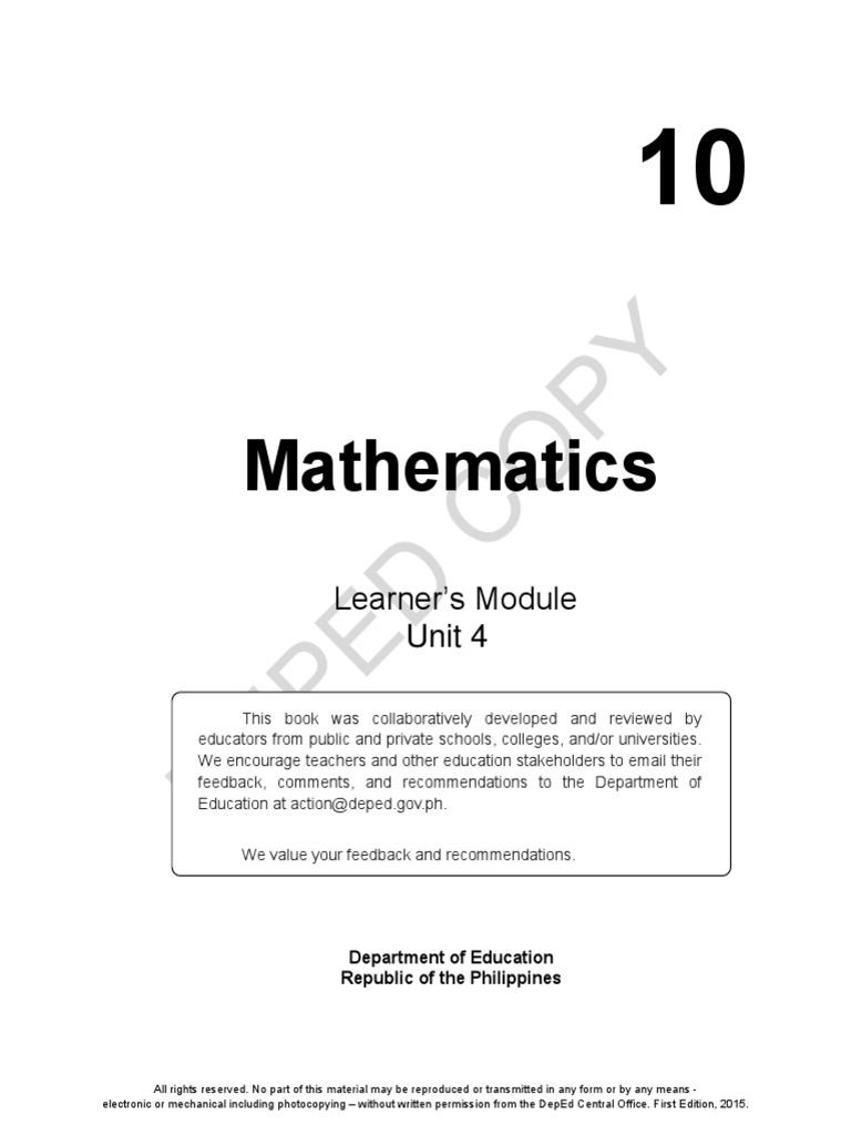 Math Grade 10 Answer Key | Quantile | Percentile | Free 30 ...