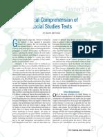 Critical Comprehension of Social Studies Texts