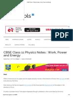 CBSE Class 111 Physics  Work Power and Energy