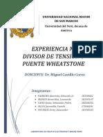 DIVISOR DE TENSION Y PUENTE WHEATSTONE, INFORME 5