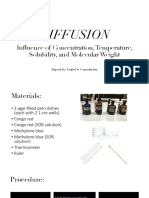 Diffusion- Influence of Concentration, Temperature, Solubility, And Molecular Weight