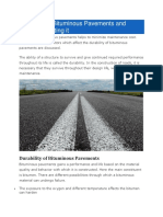 Durability of Bituminous Pavements and Factors Affecting It
