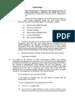 Communiqué du bureau du  Directeur des poursuites publiques