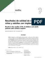 Resultados de Calidad de Vida en Niños y Adultos Con Implante Coclear