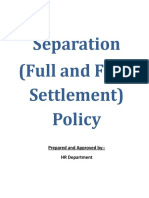 Separation (Full and Final Settlement) Policy