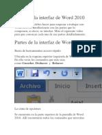 Partes de La Interfaz de Word 2010