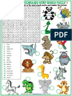 Animals Vocabulary Esl Word Search Puzzle Worksheets for Kids