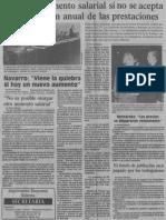 No Habra Aumento Salarial Si No Se Acepta La Liquidacion de Las Prestaciones - 1989