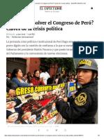¿Se Puede Disolver El Congreso de Perú?