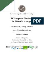 Tercera Circular IV Simposio AAFA. La Plata 2019