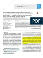 Electrosynthesis and Characterization of ZnO Nanoparticles as Inorganic Component