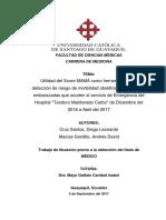 """Utilidad del Score MAMÁ como herramienta para detección de riesgo de morbilidad obstétrica en pacientes embarazadas que acuden al servicio de Emergencia del Hospital """"Teodoro Maldonado Carbo"""" de Diciembre del 2016 a Abril del 2017"""