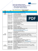 Schedule for the Meeting in Romania